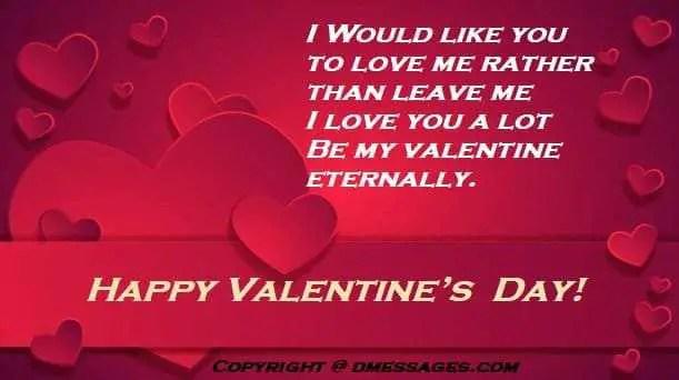 Valentine day emotional message