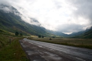 a road leading to the north of scotland
