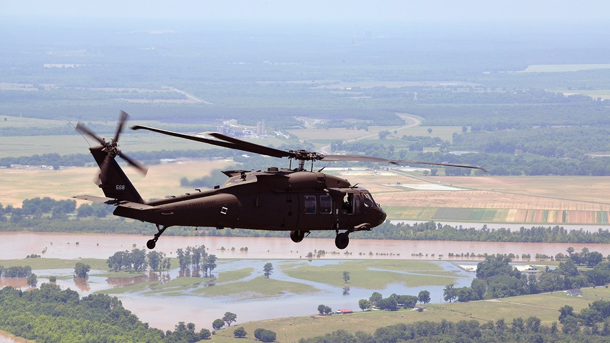 hight resolution of a louisiana national guard uh 60 black hawk is used to assess flooding on june