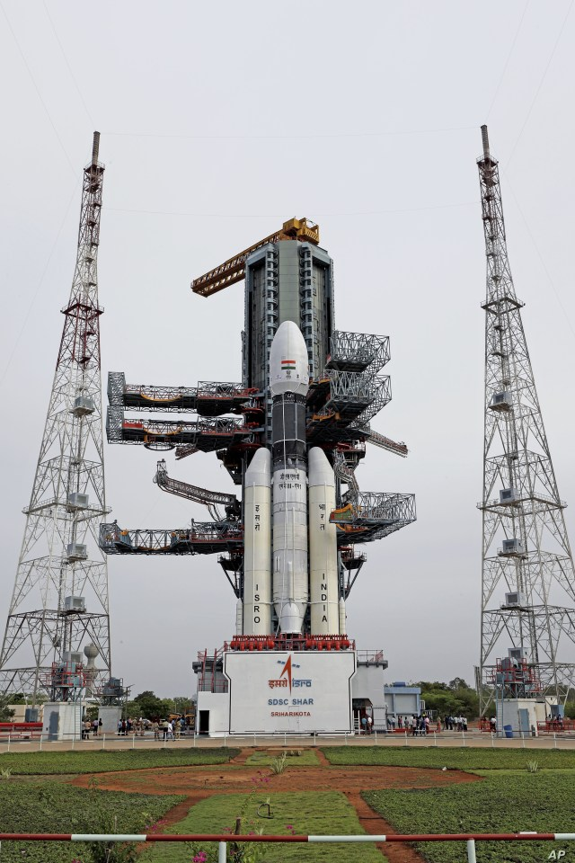 This July 2019, photo released by the Indian Space Research Organization (ISRO) shows its Geosynchronous Satellite Launch Vehicle (GSLV) MkIII-M1 being prepared for its July 15 launch in Sriharikota, an island off India's south-eastern coast. India…
