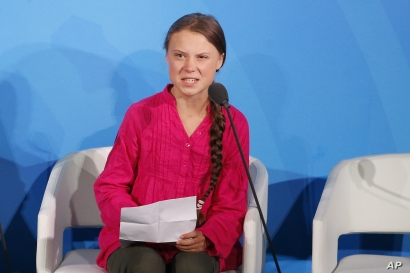 Environmental activist Greta Thunberg, of Sweden, addresses the Climate Action Summit in the United Nations General Assembly, at U.N. headquarters, Sept. 23, 2019.