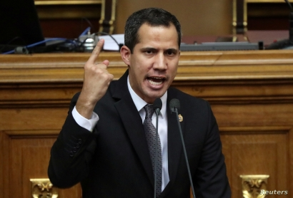 Venezuelan opposition leader Juan Guaido, who many nations have recognised as the country's rightful interim ruler, gestures as he speaks during the session of the Venezuela's National Assembly in Caracas, Venezuela, July 2, 2019.