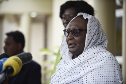 Asma Mohammed, Sudan's Minister for Foreign Affairs and the first female to hold the position, speaks to press in Juba, South…