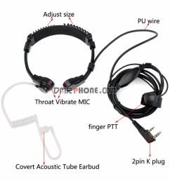 adjustable throat vibrate mic 2pin earpiece for kenwood  [ 1000 x 1000 Pixel ]
