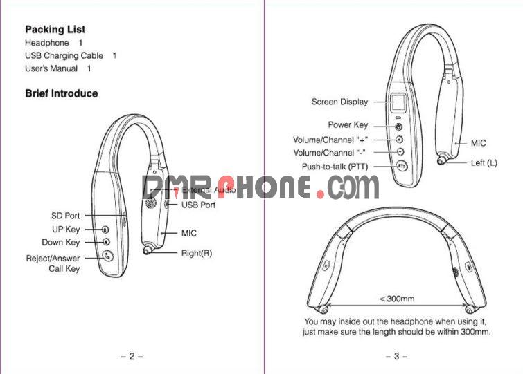 Neckband Mini Two Way Radio UHF 400-470MHz 99CH Bluetooth