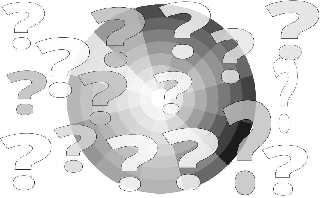 Interrogantes sobre una rueda de color en escala de grises.