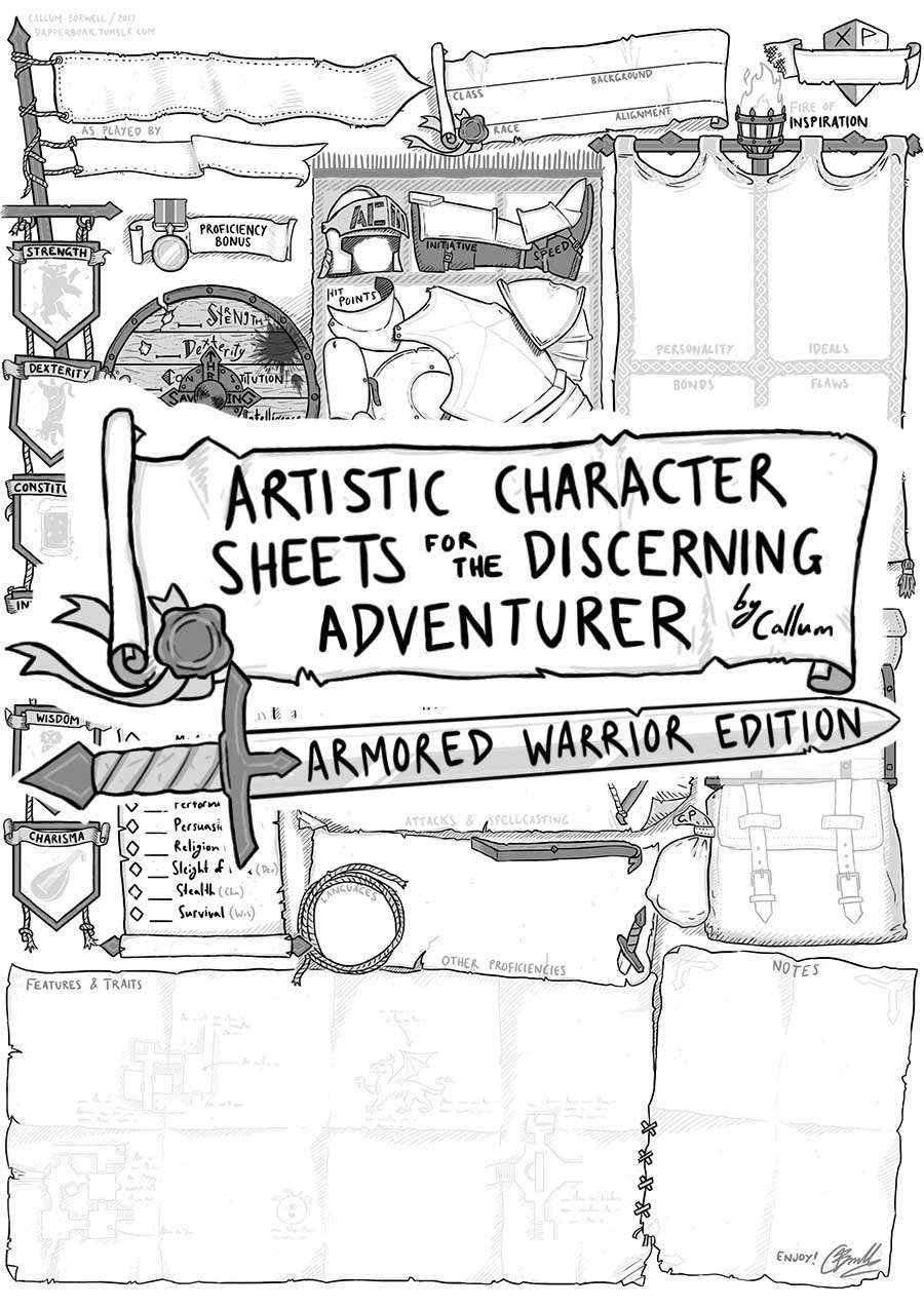 Artistic Character Sheet for the Discerning Adventurer