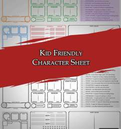 Kid Friendly Character Sheet - Dungeon Masters Guild   Dungeon Masters Guild [ 1273 x 900 Pixel ]