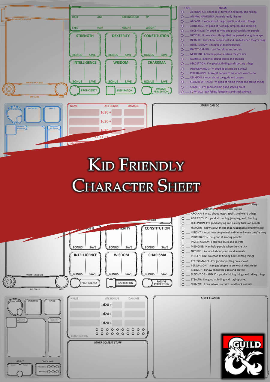 hight resolution of Kid Friendly Character Sheet - Dungeon Masters Guild   Dungeon Masters Guild