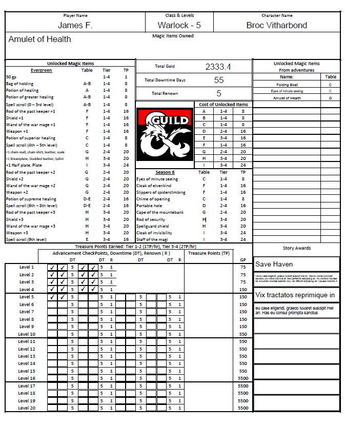 Season 8 Character Logsheet Cover PDF form fillable