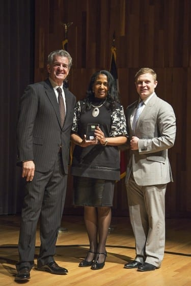 President Franklin accepts Healthy Iowa Award
