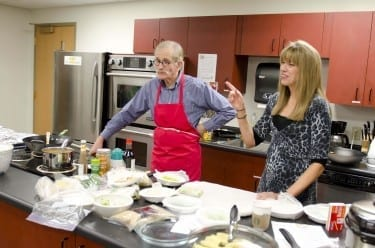 David Spreadbury and Joy Schiller teach a hands-on nutrition elective in DMU's wellness center kitchen.