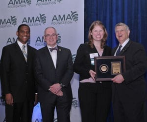 Laura Hoffman, D.O. '12, received the AMA Foundation's 2012 Leadership Award