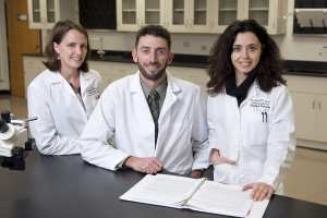 Sarah Clayton, Ph.D., Noah Marcus, Ph.D., and Francesca Di Sole, Ph.D., are collaborating to plan a new shared lab as well as pursue potential research projects.