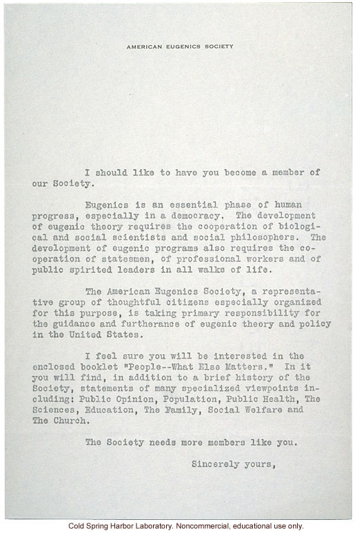American Eugenics Society Membership Drive Materials Cover Letter To Albert Blakeslee