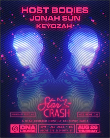 Star Crash: A Monthly Synthpop Event Flyer