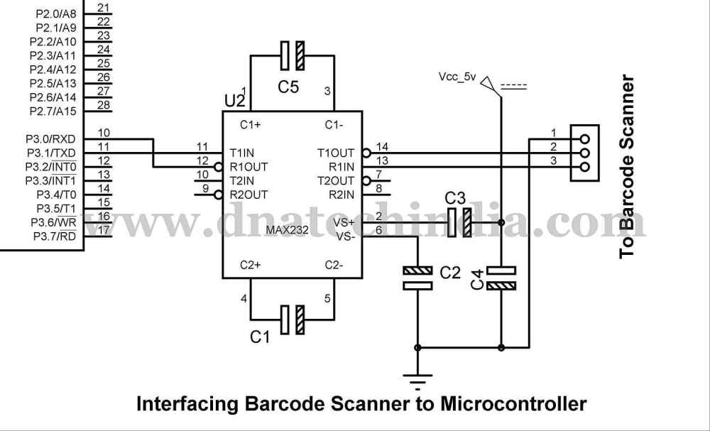 medium resolution of below you can see how we can interface the serial barcode scanner to an 8051 based microcontrollers over here we have used 89s52 microcontroller