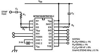 dtmf decoder ic mt8870 pin diagram mg tf 160 wiring interfacing 8870 basic circuit