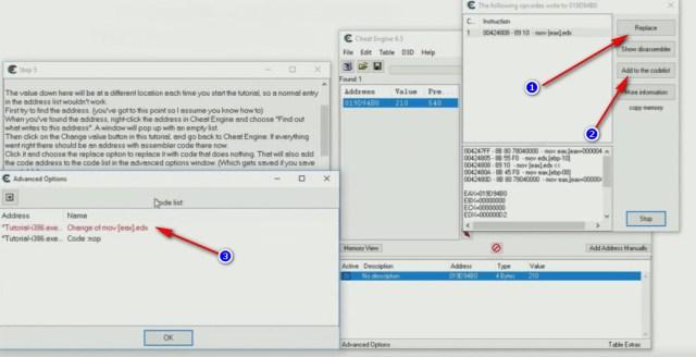 Cheat Engine Tutorial Code Finder tutorial passo 5 replace del codice
