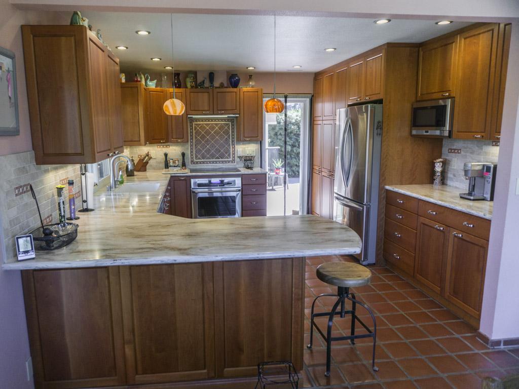 Retired couple 39 s cherry kitchen danilo nesovic designer for Best big box store kitchen cabinets