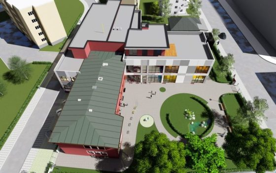 Проектът предвижда нова сграда (отдолу), залепена към текущата (близка) визуализация.