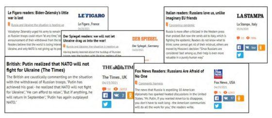 Примери в доклада за това как публикациите на влиятелни западни медийни форуми се използват за изкривяване на възприятието на преобладаващото мнение за или против Русия