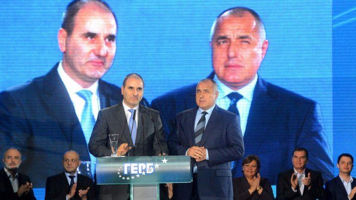 Бойко Борисов и Цветан Цветанов на Национална конференция на ГЕРБ през 2013 г.