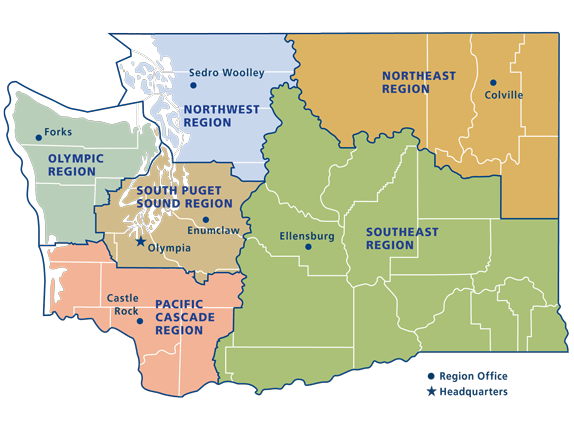 Upland regions also dnr and districts wa rh