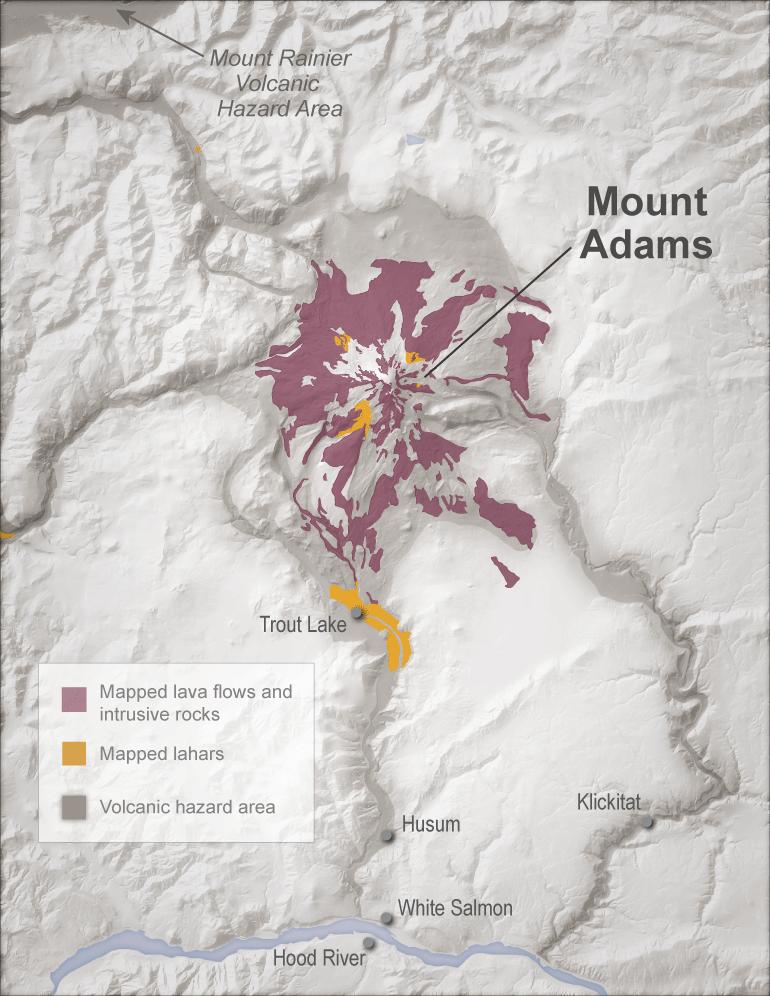 Mt Adams Washington Map.Volcano Profile Mount Adams Washington State Geology News