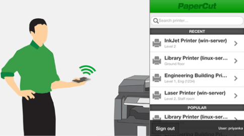 Graphic of PaperCut Mobile (Touch Free) Print Release being used