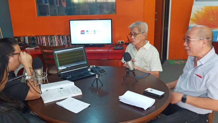 Bacolod City Vice Mayor El Cid Familiaran, right, with disaster czar Mr. Jose Maria Vargas who heads the City Hall's cluster on disaster preparedness and response in an interview with DNX editors.  Photo by Richard D. Meriveles