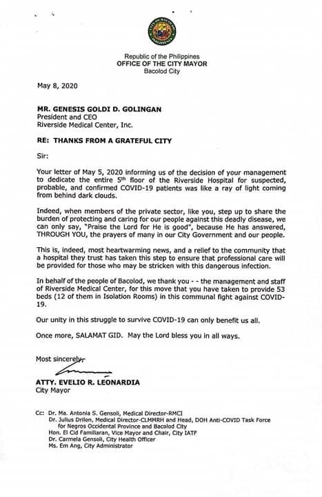 Bacolod Mayor Evelio Leonardia's letter expressing gratitude for Riverside's gesture.