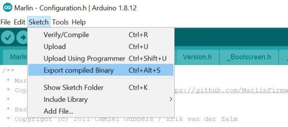 Arduino Marlin export compiled binary Install Marlin 2.0.5.3 Ender-3 Pro