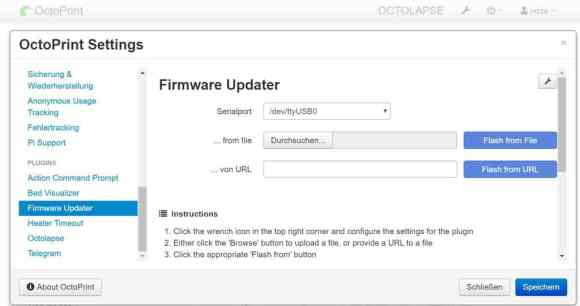 OctoPrint Settings - Firware Updater Install Marlin 2.0.5.3 Ender-3 Pro
