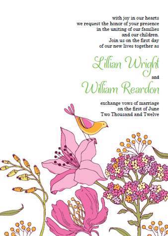 Unique Garden Bird Wedding Invitation Template