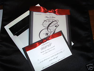 red black white wedding invitations, Wedding invitations
