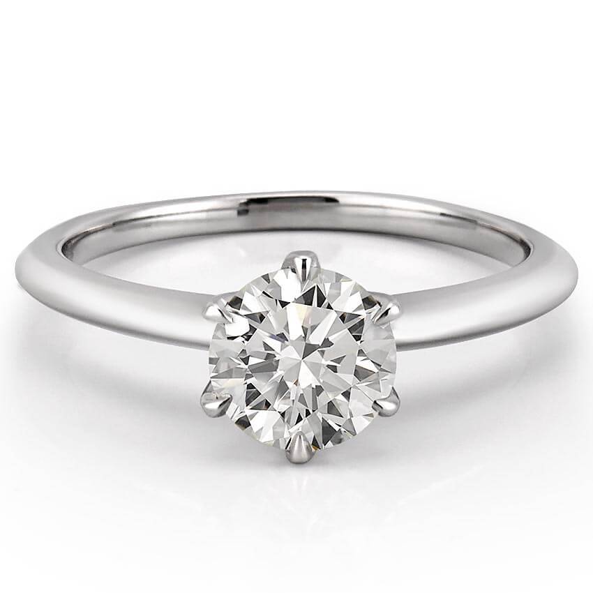 Six Prong Engagement Ring  Six Prong Solitaire  Luna