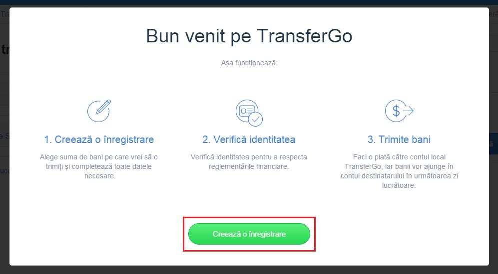 Creare cont TransferGo: Pasul 6