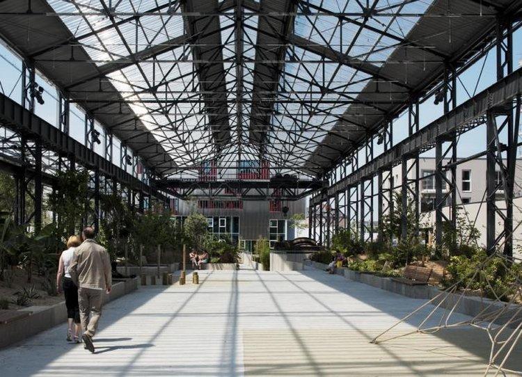 adh architectes  Jardin des Fonderies Restauration des Halles des Fonderies et cration dun