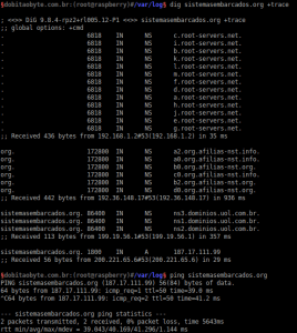dig dobitaobyte.com.br +trace | Servidor DNS