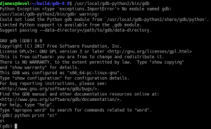 The selected build of GDB does not support Python scripting