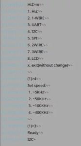 Configuração do I2C no Bus Pirate