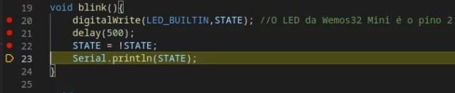 ESP32 no VS Code - breakpoint