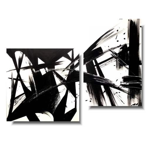 Duży obraz abstrakcja czarno biały