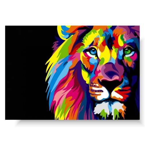 duży obraz kolorowy lew