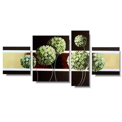 Modny obraz kwiaty zielone oliwkowe hortensje