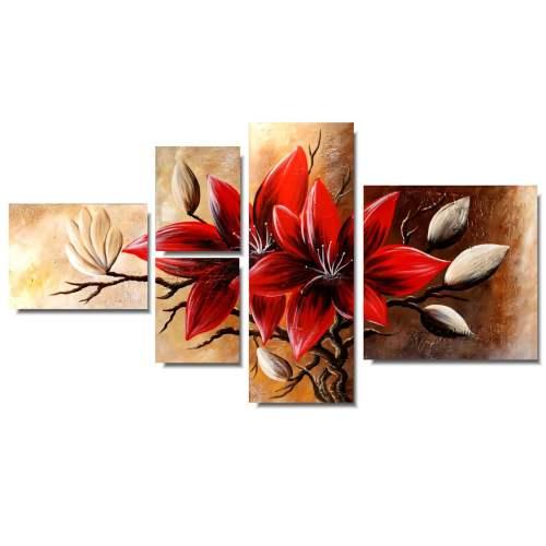 duże obrazy kwiaty czerwona magnolia