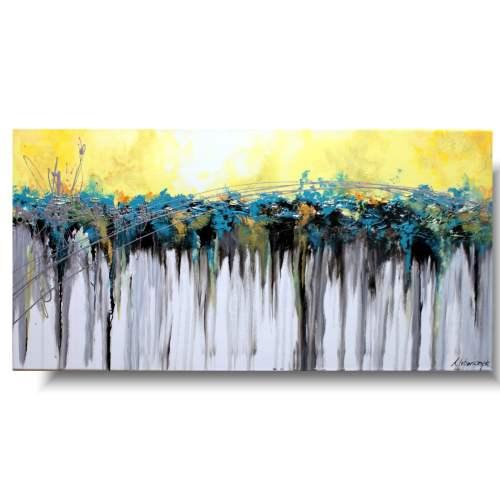 Nowoczesna abstrakcja obraz turkusowy wodospad