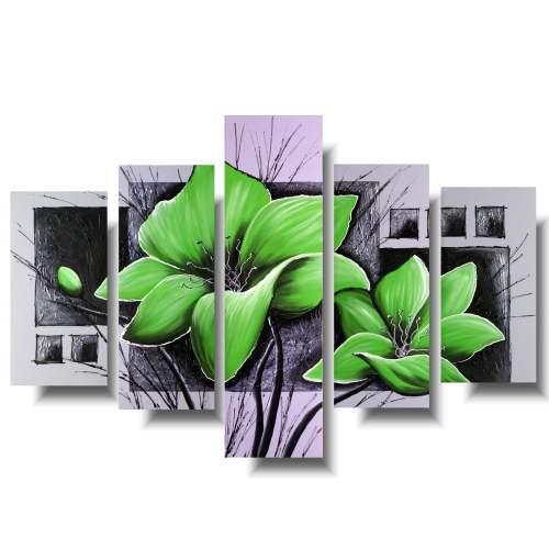 zielony obraz z kwiatami
