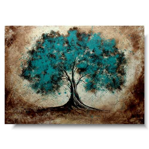 Duży obraz spokojne turkusowe drzewo